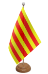 Catalonia Desk / Table Flag with wooden stand and base